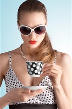 Preview iPhone wallpaper Fashion girl, glasses, cup, drink tea
