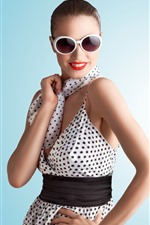 Preview iPhone wallpaper Fashion girl, sunglasses, scarf, smile