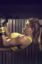 Preview iPhone wallpaper Fitness girl, sport, pose, boxing