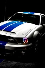 Preview iPhone wallpaper Ford Shelby Mustang car, night, headlight