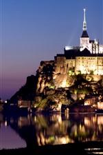 iPhone fondos de pantalla Francia, noche, luces, isla, reflejo de agua