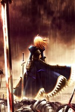 Preview iPhone wallpaper Girl in war, rain, sword, blood