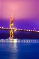 Preview iPhone wallpaper Golden Gate Bridge, river, lights, night, hazy, USA