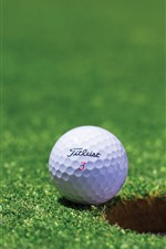 Preview iPhone wallpaper Golf, white ball, meadow, hole
