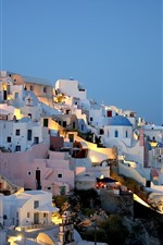 Preview iPhone wallpaper Greece, houses, city, night, lights