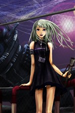 Preview iPhone wallpaper Green hair anime girl, fence, night