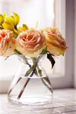 Preview iPhone wallpaper Light pink roses, yellow flowers, vase, window