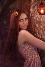 Preview iPhone wallpaper Long hair fantasy girl, lamp, tree, art picture