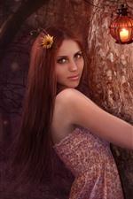 Long hair fantasy girl, lamp, tree, art picture