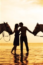Lovers, horses, silhouette, sea, sunset