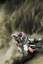 Preview iPhone wallpaper Motorcycle racing, dust, smoke