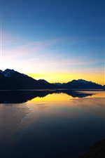 Preview iPhone wallpaper New Zealand, river, sunset, mountains