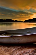 Preview iPhone wallpaper One boat, lake, sunset, clouds, trees