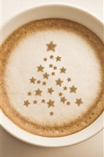Preview iPhone wallpaper One cup of coffee, Christmas tree, stars