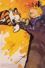 Preview iPhone wallpaper Painting, tiger and boy sleep in tree