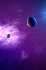 Preview iPhone wallpaper Purple space, planets, stars, glare