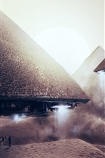 Preview iPhone wallpaper Pyramids flight, alien, UFO, creative picture