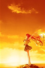 Red hair anime girl, pose, sunset, wind, clouds, sea