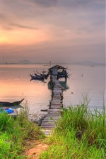 Preview iPhone wallpaper River, pier, hut, bridge, grass, dusk