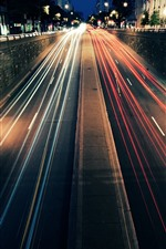 Road, street, light lines, speed, night, city