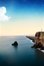 Preview iPhone wallpaper Sea, lighthouse, stars, clouds, cliff, beautiful landscape