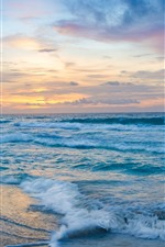 Sea, waves, foam, beach, clouds, sunset