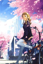 Preview iPhone wallpaper Smile anime girl, bike, sakura, train