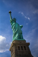 Preview iPhone wallpaper Statue of Liberty, blue sky, white clouds, USA