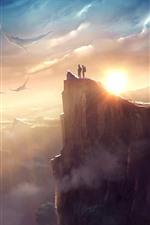 Arraia, voando, céu, montanhas, imagens de arte de fantasia