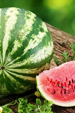 Preview iPhone wallpaper Summer fruit, watermelon, green leaves