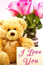 Preview iPhone wallpaper Teddy bear, pink rose, I Love You, romantic