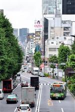 iPhone обои Токио, город, дорога, автомобили, здания, Япония