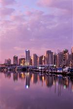 Vancouver, crepúsculo, edifícios, rio, barcos, luzes