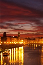 Preview iPhone wallpaper Venice, night, lights, river, bridge, houses, city, Italy