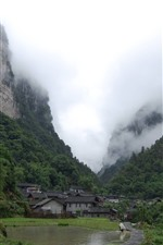 Preview iPhone wallpaper Village, countryside, mountains, green, fog, China