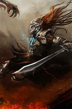 Preview iPhone wallpaper Warrior, sword, monster, art picture