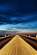 Wooden bridge, endless, lights, night, clouds