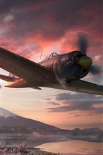 Preview iPhone wallpaper World of Warplanes, Japan, sakura, Fuji mount