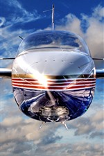 Preview iPhone wallpaper Airplane front view, propeller, speed