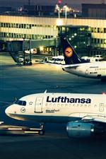 Aeroporto, avião, noite, luzes