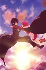 Anime girl and boy, flight in sky, sunset