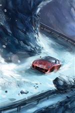 Preview iPhone wallpaper Art painting, snow, supercar, rocks
