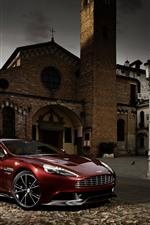 Aston Martin red supercar, town