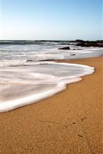 Preview iPhone wallpaper Beach, sea, foam, footprint