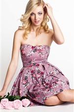 Preview iPhone wallpaper Beautiful blonde girl, pose, pink roses