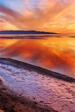 Beautiful dusk, lake, water reflection, orange sky, clouds, sunset