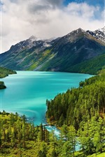 Preview iPhone wallpaper Beautiful nature landscape, trees, green, mountains, lake, clouds