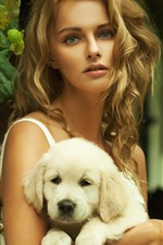 Preview iPhone wallpaper Blonde girl and white dog, chair