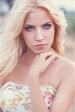 Preview iPhone wallpaper Blonde girl, look, pose, hands