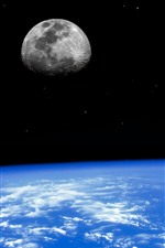 Preview iPhone wallpaper Blue Earth, moon, space
